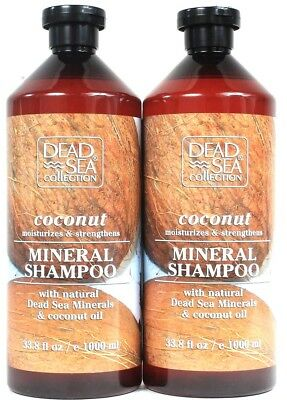 2 Dead Sea Collection 33.8 Oz Coconut Oil Moisture & Strength Mineral Shampoo