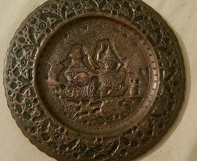"""Vintage Hammered Handmade Copper Wall Hanging Ottoman Style 13""""Plate"""