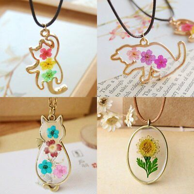 Vintage Natural Real Dried Flower Cat Shape Animal Glass Pendant Necklace Chain