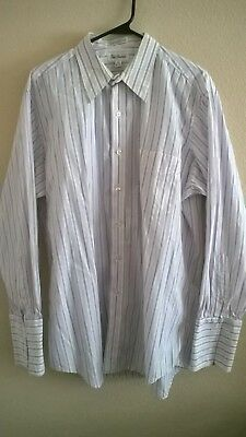 Men's Paul Frederick Multi-color Striped French Cuff Dress Shirt Size 16 1/2-33