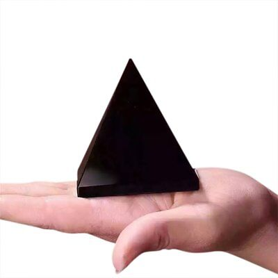 100% Natural Obsidian Pyramid Shape Quartz Healing Crystal Specimen Black U9
