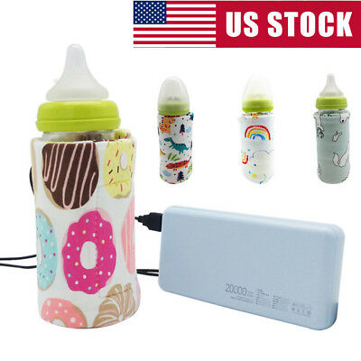 USB Bottle Warmer Heat Outdoor Travel Baby Water Milk Thermostat Cover Pouch Bag