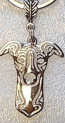 Whippet Dog Pup Key Ring Silver Alloy Zipper Pull Purse Charm Jewelry