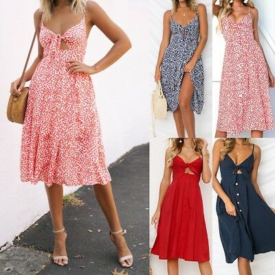Boho Style Women Print/Plain Sundress Holiday Beach Party Strappy V Neck Dress