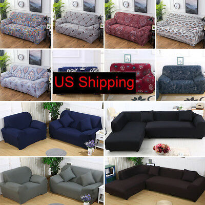 Stretch Chair Loveseat Sofa Couch Protect Cover Slipcover 1-2-3-4Seat/L-shape US