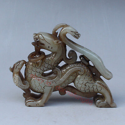 Chinese Exquisite Hand-carved Dragon Phoenix Carving Hetian jade statue