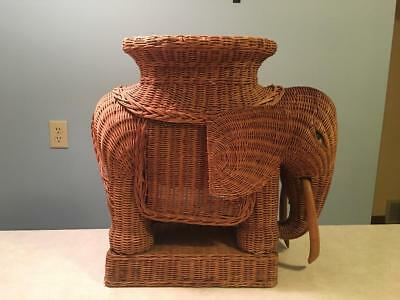 Vintage Wicker Rattan Elephant Side Table Plant Stand