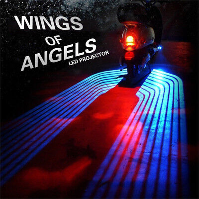2x Angel Wings Blue LED Projector Motorcycle Courtesy Shadow Welcome Light