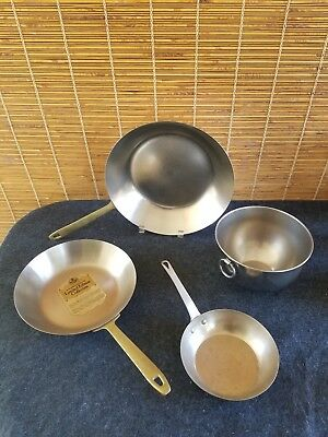 Revere Ware Stainless Copper (2) Fry Pan (1) Mixing Bowl (1) Nickel Small Pan