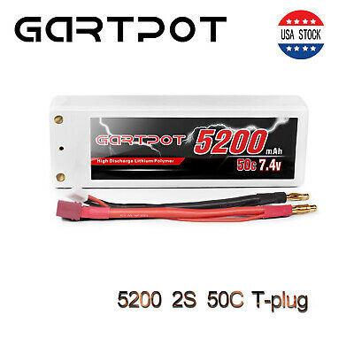 5200mAh 50C 7.4V 2S LiPo Battery Hardcase Deans Plug for RC Auto Car Truck Buggy