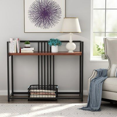 LITTLE TREE Modern Console Table Solid Wood Walnut Sofa Table with Metal Frame