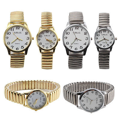 Expandable Stretch Band Strap Big Numbers Dial Ladies Gents Quartz Watch New