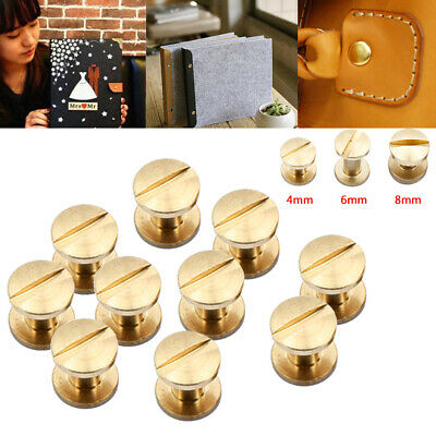 4/6/8mm 10pc Belt Screw Brass Rivets Stud Head Leather Craft Chicago Nail Wallet