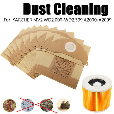Hot Vacuum 245x208mm Dust Clean Paper Bag For KARCHER MV2 WD2.200 WD3.500