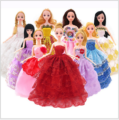 10 Pcs Barbie Clothes Tail Skirt Evening  Wedding Dress Big Skirt Toy Clothing