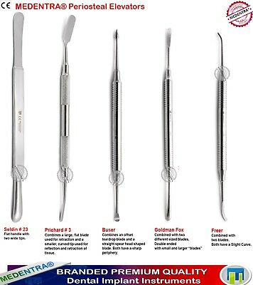 Set of 5 Double Ended Periosteal Elevators Implant Oral Surgery Instruments Kit