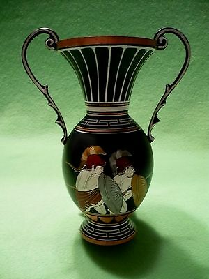 Vintage GREECE GREEK copper urn w/colorful hand painted scene of warriors &