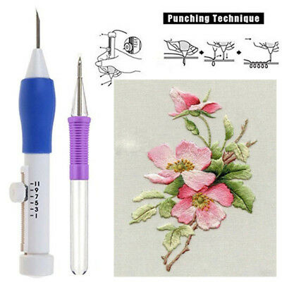 2pc Stitching Pen Punch Tool Embroidery Needle Threader for DIY Sewing 66