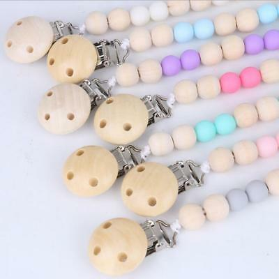 DIY Baby Wooden Pacifier Clip dummy Holder Feeding Teether Pacifier Chain