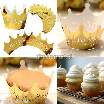 25pcs Golden Princess Crown Cupcake Wrappers Cases Wedding Birthday Party New