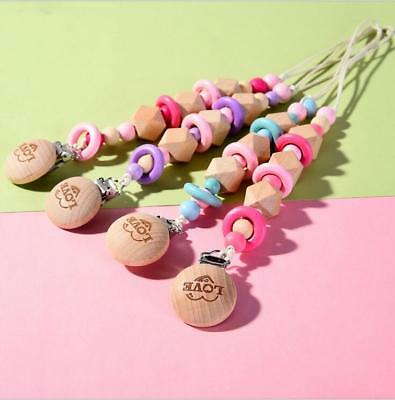 DIY No Paint Wood Pacifier Clip Chain Baby dummy Holder Feeding Teether clip