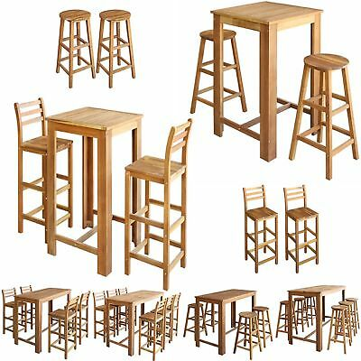 3/5/7 Pcs Bar Table&Chair Stool Set Breakfast Pub Cafe Kitchen Solid Acacia Wood