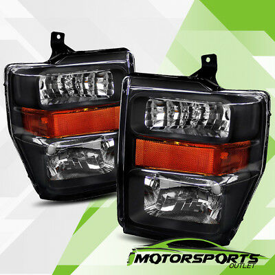 For 2008-2010 Ford F250/F350/F450 Super Duty Black Crystal Headlights Left/Right