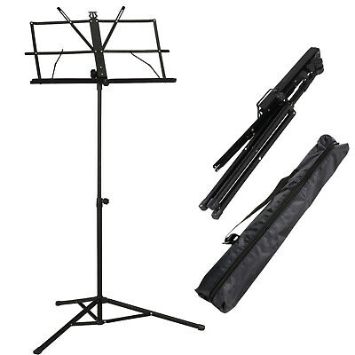 Adjustable Metal Sheet Music Stand Holder Folding Foldable With Black Carry Bag