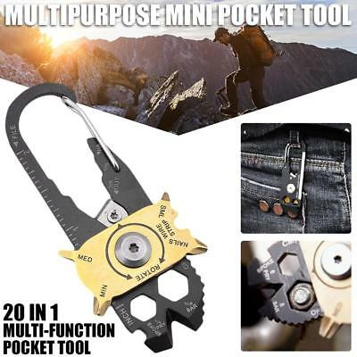 Mini Portable Gadget 20-in-1 Pocket Multi Tool Keychain Key Ring EDC Outdoor