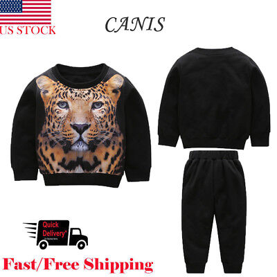 New Winter Toddler Kids Baby Boys T Shirt 3D Tiger Printed Tops+ Pants Outfits