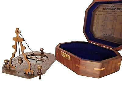 Antique Brass Cox London Sundial Compass Wooden Box Equation Of Time Inlay Box