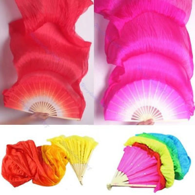2018 Hand Made Colorful Belly Dance Dancing Silk Bamboo Long Fans Veils 4 Color