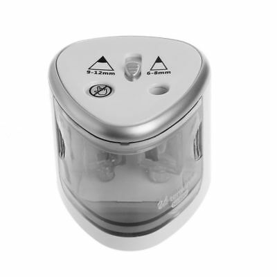 Electric Pencil Sharpener Holes Battery Operated School Office Stationery Silver