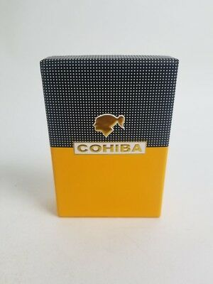 Cohiba Metal 3 Torch Jet Flame Cigar Lighter W/ Built In Puncher - Yellow