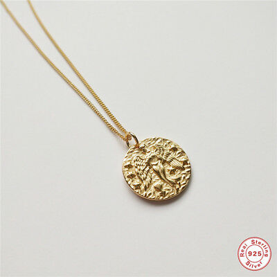 925 Sterling SSSilver Gold Plated Roman Coin Necklace Baroque Coin Necklaces