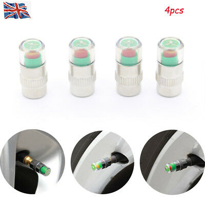 4x 30-32-36 PSI Wheel Pressure Tire Air Sensor Car Valve Tyre Caps Dust Monitor