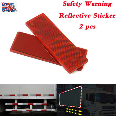 2x Red Self-Adhesive 150x50mm Oblong Rectangular Trailer Caravan Rear Reflectors