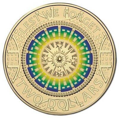 Australia ANZAC 2017 $2 dollar color remembrance lest we forget Ram coin