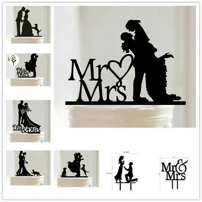 Wedding Cake Topper Mr Mrs Acrylic Safe Black Topper Bride and Groom Party Decor