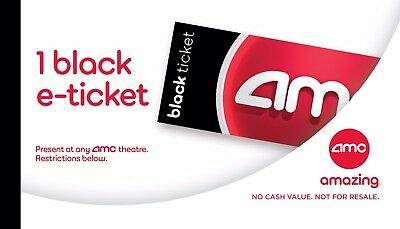 AMC Black Movie E-Tickets. NO EXPIRATION Quick delivery to your email