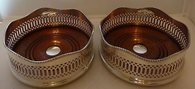 Pair Asprey of London Silver Plated Champagne Wine Coasters with Wooden Base