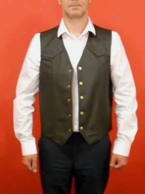 Iron Horse Leather Five Button Motorcycle Waistcoat New RRP £44.99!!