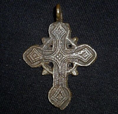Medieval BYZANTINE Bronze CROSS - Two-sided - Circa 1000-1200 AD            /755