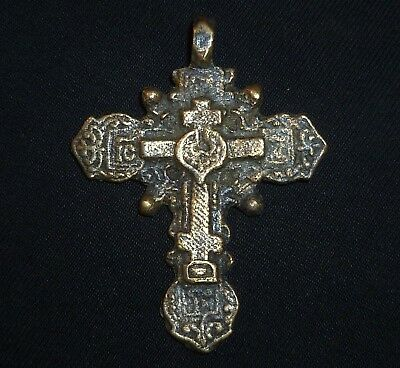 Medieval BYZANTINE Bronze CROSS - Two-sided - Circa 1000-1200 AD            /757