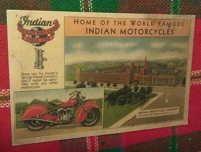 Old Indian Motorcycle + Factory Building + Bike Advertising Postcard Repo
