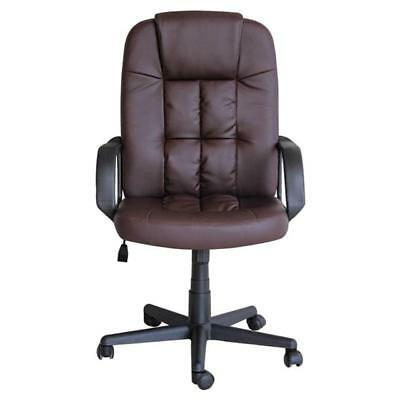 Home Office Desk Computer Chair Brown Pu Leather Height & Tilt Adjustment New