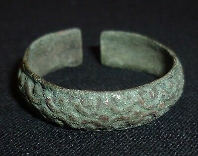 CELTIC Ancient Bronze SNAKE RING - Circa 100 BC                /772