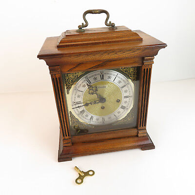 Vintage Linden Oak Mantel Carriage Clock - Chime Cuckoo Movement Wind Up w/ Key