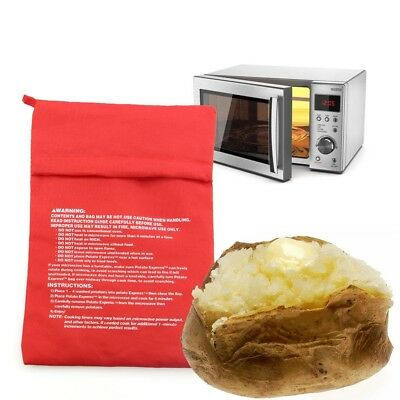 Red Washable Cooker Bag Baked Potato Microwave Cooking Potato Quick Fast