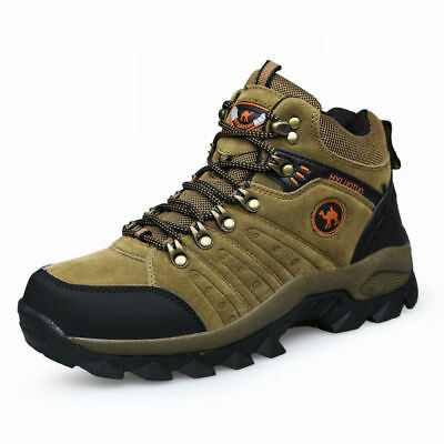 Men's lightweight leather waterproof mid cut top comfortable hiking boots shoes